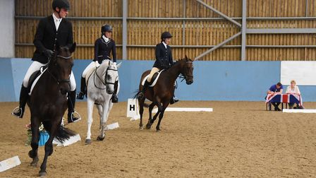 The Golden Oldies team (previous students) during the early rounds of the dressage event at the Grea