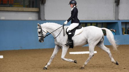 One of the Golden Oldies team (previous students) during the early rounds of the dressage event at t
