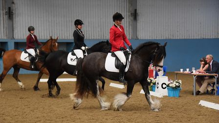 The International Three team taking part in the dressage at the Great Britain Student Riders Nations
