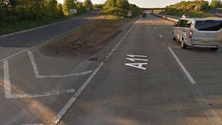A man was rescued from a van following a crash on the A11 near Wymondham. Photo: Google