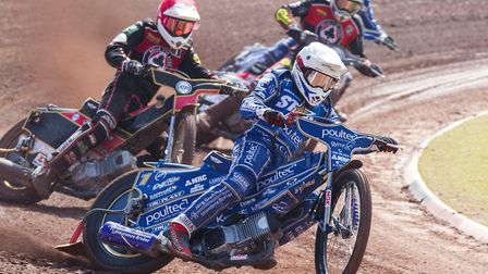 Action from King's Lynn Stars' defeat at Belle Vue. Picture: Taylor Lanning