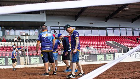 King's Lynn Stars assess the track at Belle Vue before their meeting. Picture: Taylor Lanning