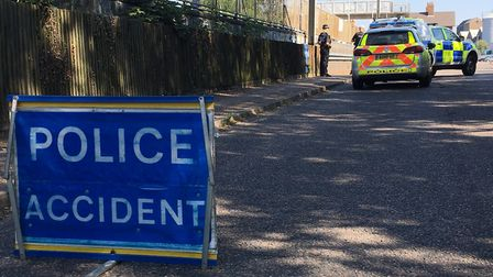 A motorcyclist sustained serious injuries after a crash involving a van at Diss Station. Picture: Ma