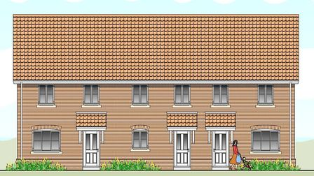 Illustration of how some of the 52 homes would have looked in Long Stratton. Picture: Orbit Homes