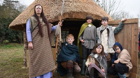 Molly Housego of Black Knight Historical at the Iceni round house at Pulham Primary School. Picture: