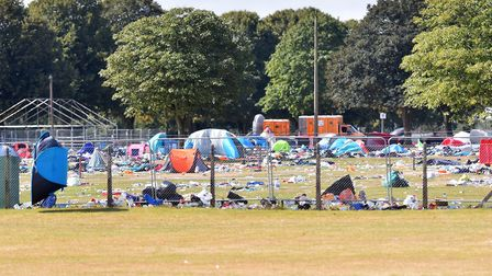 The state of the Royal Norfolk Showground after Sundown Festival. Photographed on Wednesday Septembe