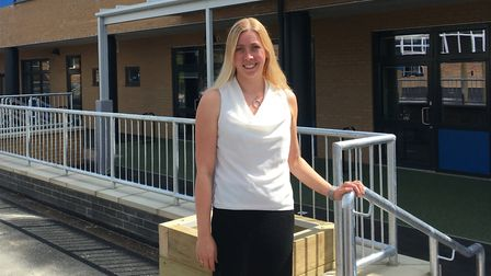 Katie Lawson, principal of Costessey Primary School, outside the new extension. Picture: SOPHIE WYLL