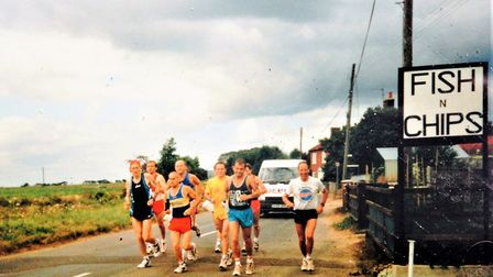 Only 26.2 miles to go having completed 80 miles during my 106.2 mile run, August, 1995. Picture: Nei