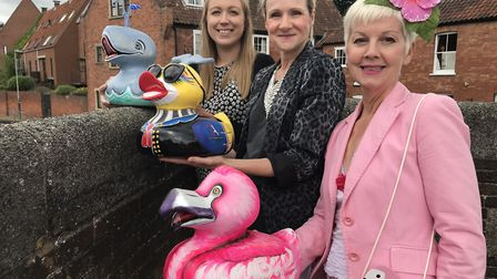 Meet their ducks, from left to right, Flo Walker from Alan Boswell Group, Marie Oaks from the Trend