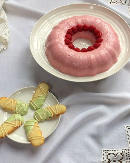 Raspberry Blancmange with Langues de Chat by Kate Royall (C) Kate Royall