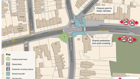 Map showing changes to be made to Earlham Road around West Pottergate. Picture; TfN