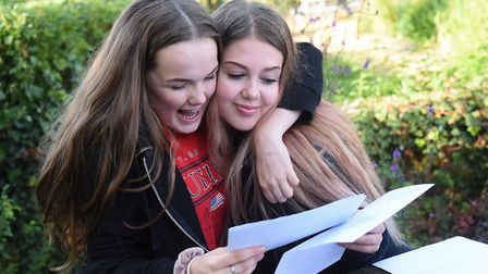 Jess Hennesy, left, and Chloe Brown celebrate their GCSE results at Wymondham High Academy. Picture: