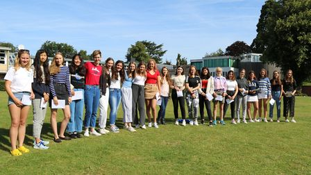Norwich High School for Girls students celebrate their GCSE results. Picture: Norwich High School fo