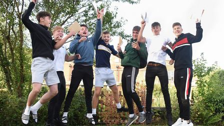 Students celebrate their GCSE results at Wymondham High Academy. Picture: DENISE BRADLEY