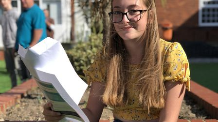 Charter Academy student Lula Smith celebrates her GCSE results. Picture: Jamie Honeywood