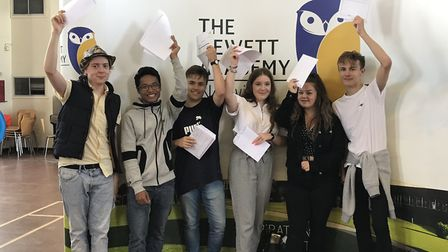 Students from the Hewett Academy in Norwich receive their GCSE results. Picture: Victoria Pertusa