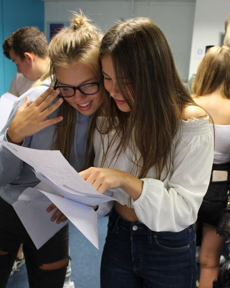 Caister Academy students celebrate their GCSE results. Picture: Caister Academy