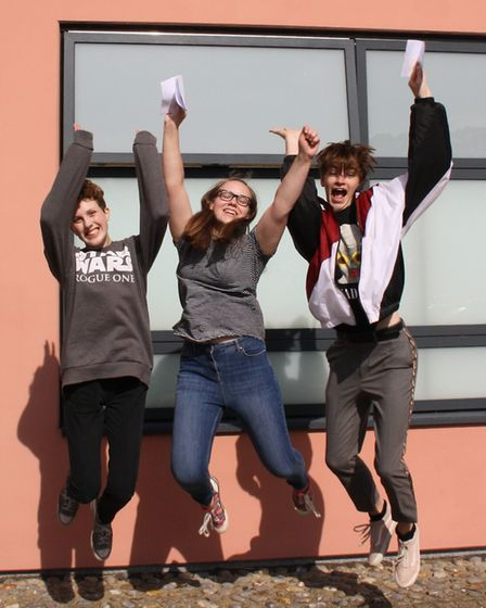 Reepham High School and College students celebrate their GCSE results. Picture: Reepham High School