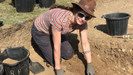 Members of the Caistor Roman Project working on the temple site in Caistor St Edmunds. Picture: Ella