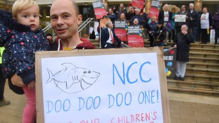 Protests against children's centre closures at County Hall Picture: DENISE BRADLEY