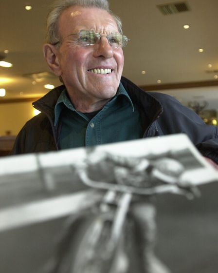 Ex Norfolk speedway star Clive Featherby revisiting the city in 2004. Photo: Angela Sharpe