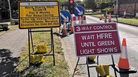 Norwich Road in Hethersett is operating under a three way traffic light system due to roadworks. Pho