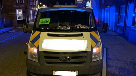 The Transit seized by police after it was seen driving through Wymondham with no lights on Picture: