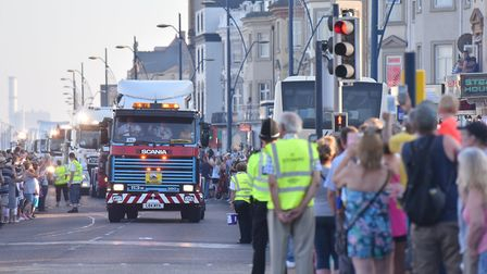 Crowds lined Great Yarmouth seafront as the East Coast Truckers passed through on their way to Norwi