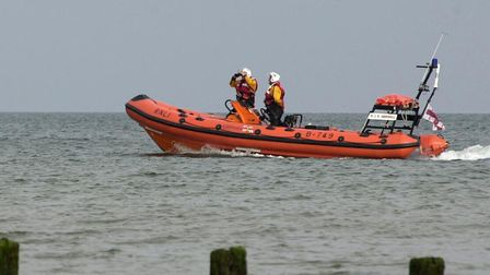 Hunstanton lifeboat was launched this afternoon to people cut off by the tide Picture: Graham Corne