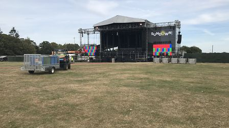 The stage all set up for Sundown Festival 2019 at the Royal Norfolk Showground. Picture: Neil Didsbu