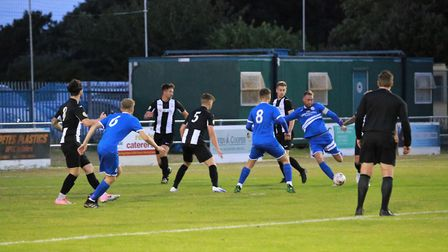 Kirkley & Pakefield on the front foot against Woodbridge Town Picture: BRYAN GRINT