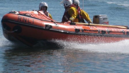 Wells inshore lifeboat crew rescued four people and a dog. Picture: John Mitchell