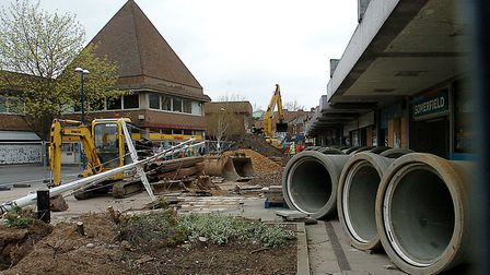 New Conduit Street in King's Lynn town centre in the first stages of the redevelopment programme.Ci