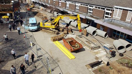 The start of King's Lynn Town Centre's redevelopement, show down New Conduit Street, as work begins