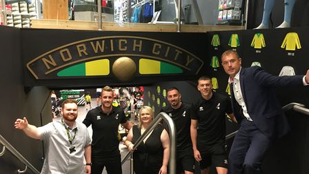 The grand opening of Norwich City's new fan hub. L-R: Nathan Le-Moine, Ralf Fahrmann, head of retail