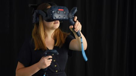 Louisa Baldwin tries out the new Norwich VR Escape Room. Picture: DENISE BRADLEY