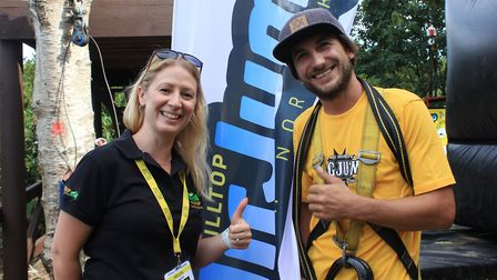 Extreme sports professional Benjamin Moesel with Helen Read, of Hilltop Outdoor Education Centre.Pho