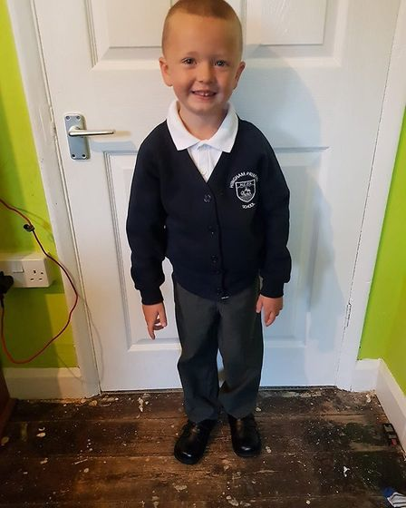 Kayleigh Thrower's son ready for reception. Picture: Kayleighkins Thrower