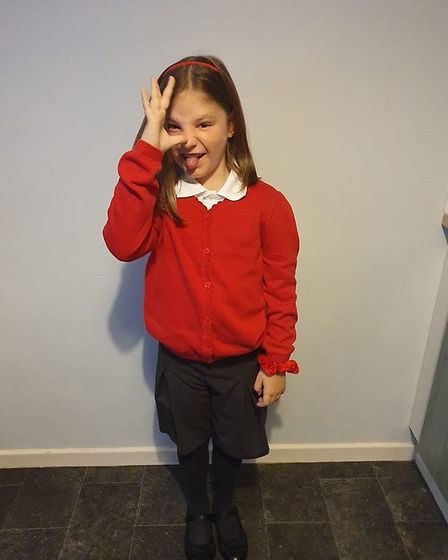 Emma Botting's daughter ahead of her first day in year four. Picture: Emma Botting
