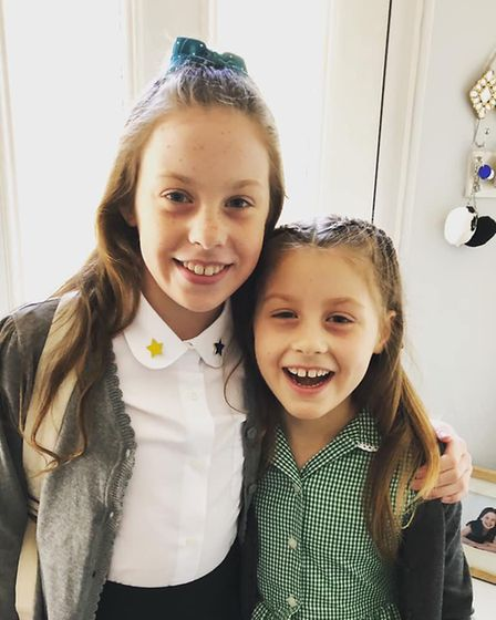 Michelle Kerby's daughters ready for junior school. Picture: Michelle Kerby