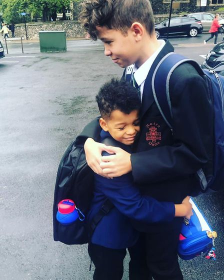 Leah Black shared this picture of her sons, going into year seven and year three. Picture: Leah Blac