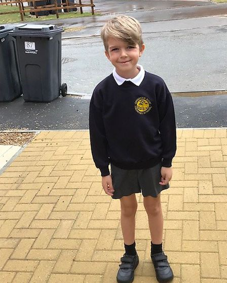 Kimberly Playle's son ready to start year two at a new school. Picture: Kimberly Playle