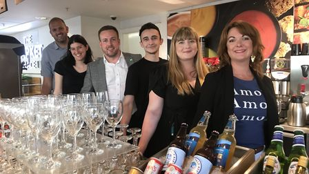 The M&S team behind the bar before the big M&S bar launch in Norwich. Picture: Ella Wilkinson