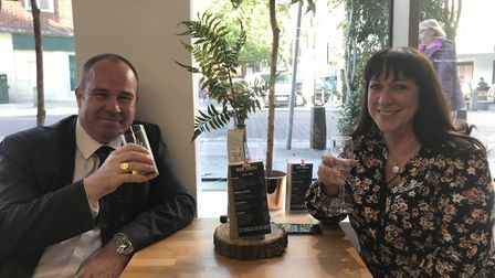 Tim and Kerry Ridley enjoying a few drinks in the new M&S bar. Picture: Ella Wilkinson
