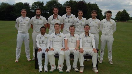 Cecil Amey Norfolk Alliance Premier Division champions North Runcton face the camera. Back row, left