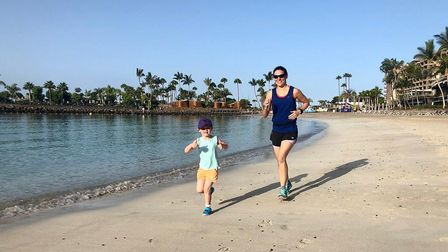 Alison Armstrong and daughter, Lara, on a run in Gran Canaria. Picture: Mark Armstrong