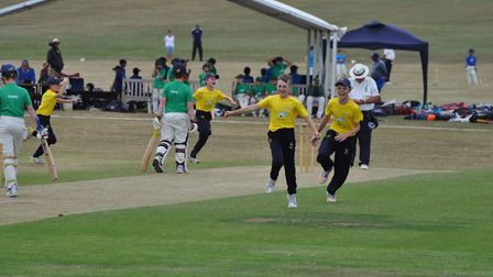 The celebrations begin as Oliver Durrant makes it four wickets in four balls for Norfolk Under-11s a