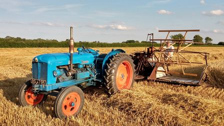 A vintage Albion binder, towed behind a period tractor, being tested ahead of the 2019 Dentill vinta