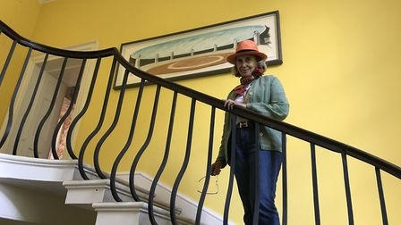 Norfolk Baroness Patricia Rawlings on the stairs of her Burnham Market home. Picture: Ella Wilkinson