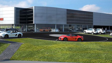 A CGI image of how the new Porsche centre on the Norwich Livestock Market site will look. Picture: P